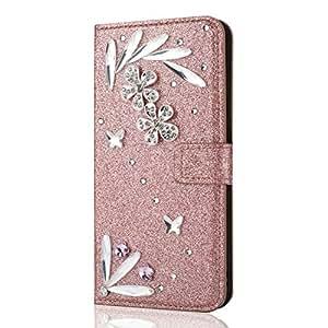 Shinyzone Huawei P20 Lite Portafoglio in pelle Custodia Bling 3D Farfalla Diamante,[Porta Carte di credito] [Supporto Stand] Brillante Strass Piuma Modello PU Copertura Protettiva Antiurto Custodia Flip Magnetica per Huawei P20 Lite-Oro Rosa