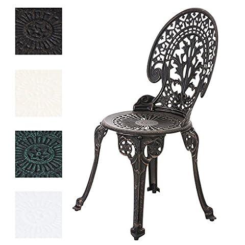 CLP Aluminium Bistro-Stuhl, Gartenstuhl VISHNU, witterungsbeständig, Alu-Guss, antik, passt zum Jugendstil Bronze