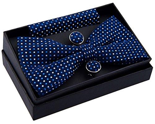 Pajarita pequeña, de lunares, preanudada, 12 cm, con pañuelo cuadrado de bolsillo y gemelos - Set de regalo azul azul marino Talla única