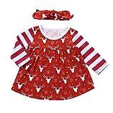 Robe de Noël de fille, Tpulling Bébé Filles Cerf Rayé Robe Princesse Bandeau Vêtements de Noël (Red, 18M)