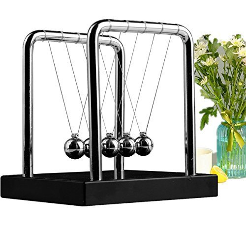 Meyall Newton's Cradle Balance Balls, Art in Motion Toys for Kids Adults, Science Physic Psychology Educational Kits (Medium Size) (Games Kids Science)