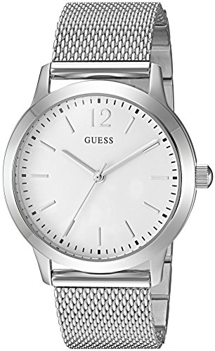 GUESS Men's U0921G2 Dressy Silver-Tone Watch with  White Dial  and Mesh Band
