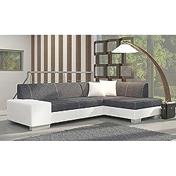 JUSThome Fabio Sofá esquinero chaise longue función de cama Sofá-cama Tejido estructural Piel sintética Tamaño: 73x268x167 cm Gris Blanco Brazo derecho