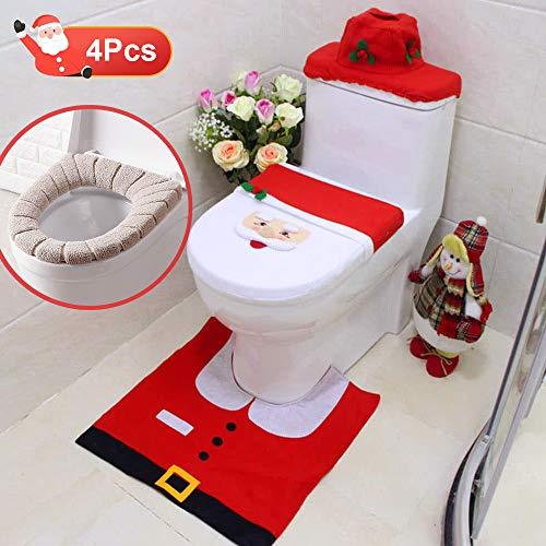 Decorazioni natale wc set, specool 4 babbo sedile wc coperchio tappetino da bagno con tappetino da bagno babbo natale coperchio e tappeto scatola del tessuto cuscino wc in peluche