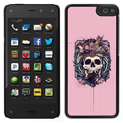 All Phone Most Case / Carino Immagine Rigida Custodia Duro protettiva Caso Cellulare Cassa / Hard Case for Amazon Fire Phone // Native Vampire Skull rosa floreale