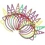 Blulu 18 Piezas de Diadema de Unicornio de Plástico Materiales de Decoración de Disfraz para Fiesta (Colores Brillantes)