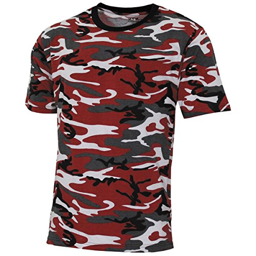 MFH US T-Shirt, Streetstyle, Rot-Camo, 140-145 g/m² - M