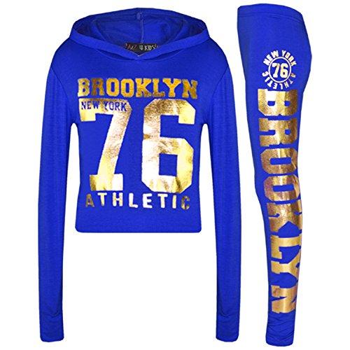 Kostüm Trainingsanzug Gold - A2Z 4 Kids® Mädchen Top Kinder Designer Brooklyn New York 76 Athletic - Brklyn Hooded Crop Set Royal Gold 9-10