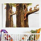 Bilderwelten Leinwandbild - Zuhause der Einhörnchen - Quer 2:3, Leinwand Leinwandbild XXL Leinwanddruck Wandbild, Größe HxB: 120cm x 180cm