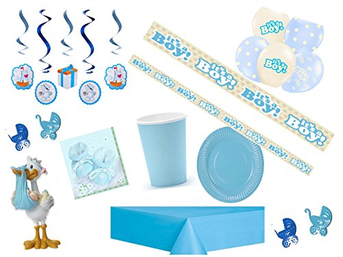 Partydekoset Babyparty Baby Shower Junge blau für 12 Personen 69teilig Pullerparty Baby Geburt Babyparty Komplettset Tischdeko Party Geschirr