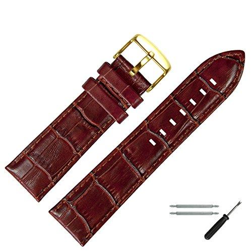 MARBURGER Unisex Uhrenarmband 22mm Leder Braun - Rindsleder, Kroko Prägung - Ersatzarmband, Schließe Gold - 7892232000220 Armani Uhr Herren Braun Leder