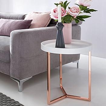 design beistelltisch give mit tablett wei abnehmbar 40 cm rund kupfer couchtisch holz. Black Bedroom Furniture Sets. Home Design Ideas
