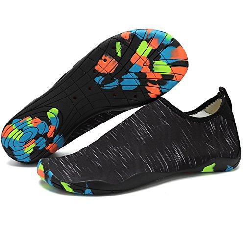 JACKSHIBO Erwachsene Barfuß Schuhe Weich Wassersport Schuhe Damen Schwimmschuhe Surfschuhe Badeschuhe Schwarz/A