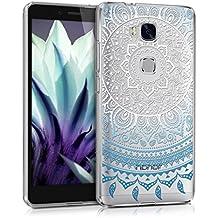 kwmobile Funda para Huawei Honor 5X / GR5 - Case para móvil en TPU silicona - Cover trasero Diseño Sol hindú en azul blanco transparente