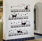 DOLOJO Sticker Mural Chat Mignon Écoute Un Art De Décoration De Chambre À Coucher Détachable Au Piano