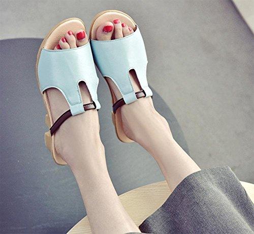 Mme Summer pente croûte épaisse avec le mot glisser des sandales plates et pantoufles plage Blue