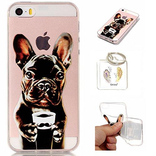 Preisvergleich Produktbild Hülle iPhone SE 5 5G 5S TPU schutz silikonhülle, niedlichen cartoon bild transparent handy Hülle für iPhone SE 5 5G 5S + schlüsselanhänger (*/138) (5)