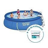 Intex Pack Kit piscine autoportée Easy Set 4,57 x 1,07 m + Traitement pour piscines  20 m³