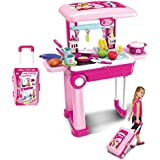 Popsugar Kitchen Set Trolly with Light and Music Toy for Kids, Pink