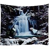 XIAOBAOZIGT Landschaft Wandteppich An Der Wand Hängende Strandpicknickdecke Zelt-Reisematte Schnee Und Wasserfall Wohnkultur 150×230Cm