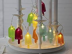 Kamaca LED Party Lichterkette mit lustigem EIS am Stiel und 10 warm weissen LED Lichtern batteriebetrieben inklusive Timer (EIS AM STIEL)