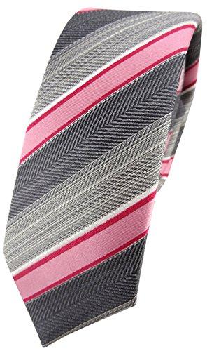 schmale TigerTie Seidenkrawatte in rosa rot grau silber anthrazit gestreift - Krawatte 100% Seide