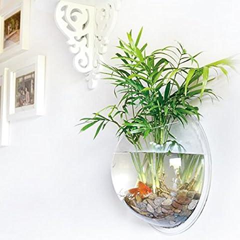 yooyoo Creative Acryl zum Aufhängen Wandhalterung Fisch Tank Schale Vase Aquarium, Pot Schale Bubble Aquarium Decor, Polyresin, farblos, 7.7 inches