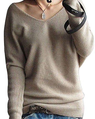 Shallgood Damen Mode Kaschmir Sexy Langen Ärmel V Ausschnitt Fledermaus Flügel Herbst Und Winter Pullover Casual Lose Pulli Khaki DE 38 (Kaschmir-jersey-t-shirt)