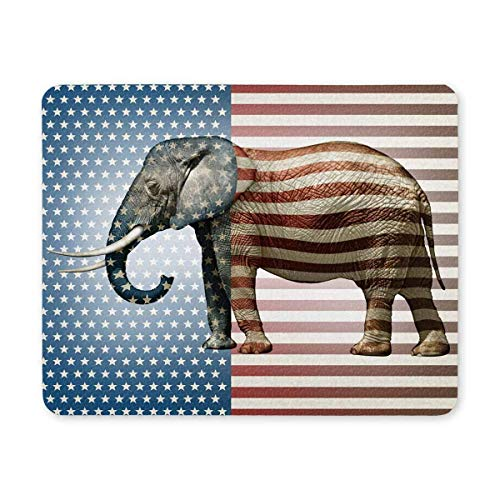 Elephant Side View The Stars and Stripes Non Slip Rubber Gaming Mouse Pad 9.84' x 7.87'