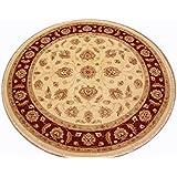 Runder Orientteppich Ziegler ca. 181 cm Ø Beige - feine Qualität - moderner Teppich - oriental round carpet best quality