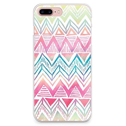 "CasesByLorraine, für iPhone 7 (4.7""), transparentes, flexibles TPU Soft Gel Back Cover | Back Case | Rückenschale | Hülle, Muster Wood Print Coral Pink Geometric Striped (G02) L16 Style 2"