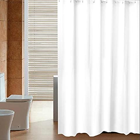 Shower curtain PEVA simple solid color waterproof thickening mold 100% pure copper lock white + Ring , 180cm wide *200cm high
