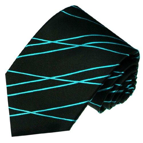 LORENZO CANA - Türkis Schwarze Luxus Krawatte aus 100% Seide mit Linienmuster - 84444