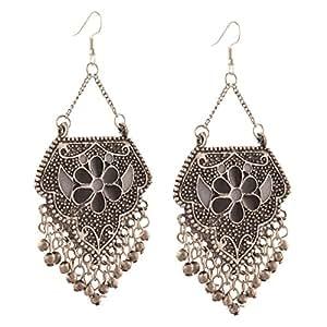 Zephyrr Jewellery German Silver Afghani Dangler Hook Chandbali Earrings for Girls