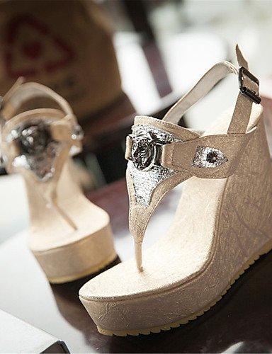 LFNLYX Chaussures Femme-Décontracté / Soirée & Evénement / Habillé-Bleu / Blanc / Or-Talon Compensé-Compensées-Sandales-Matières Personnalisées White