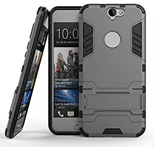 Heartly HTC One A9 Back Cover Graphic Kickstand Hard Dual Rugged Armor Hybrid Bumper Case - Metal Grey