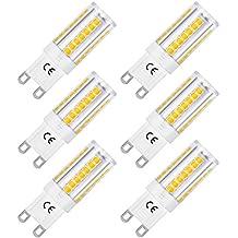 LOHAS® G9 LED de Luz Blanca Cálida Haz 360°, 5W = 40W Halógena, 3000K, 400lm, 220-240V AC, No Regulable, Pack de 6