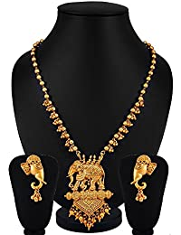 YouBella Fashion Jewellery Gold Plated Bahubali Traditional Necklace set for women party wear Jewellery set with Earrings For Girls/Women