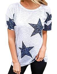 cdbc3ed9768f4 Blusen Damen Kolylong® Frauen Elegant Sterne Drucken Kurzarm Bluse Lässige Rundhals  T-shirt Sommer…