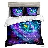 ENLAZY Galaxy 3 Stücke Bettwäsche Bettbezug Set mit Reißverschluss,Sky Universe Moon Earth Planet Gedruckt Verschluss für Kinder Teen Erwachsene,Ultra Weiche Mikrofaser-C,C,König (225 * 225 cm)