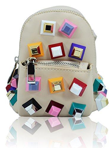 Millennium Star �?Pyramid zainetto pochette in pelle con piramidi colorate Beige