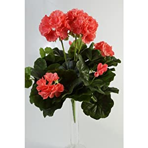 artplants.de Decorativo Geranio MIA en Vara, Rosa, 35cm, Ø 30cm – Planta Artificial – Flor sintética