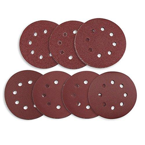 ACAMPTAR Schleifscheiben 70 Stuecke 8 Loecher 5 Zoll Schleifpapier kreisfoermige Staubfreies Klettband 60/80/120/180/240/320/400 Streugut Sortiment fuer zufaellige Orbitalschleifer