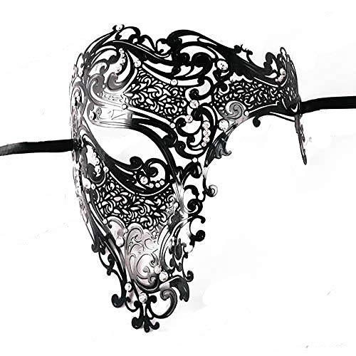 WWVAVA Maske Schwarz Gold Schädel Metall Maske Halloween Strass Halbes Gesicht Venezianische Maskerade Männer Weiß Frauen Schädel Filigrane Party Maske, Gold