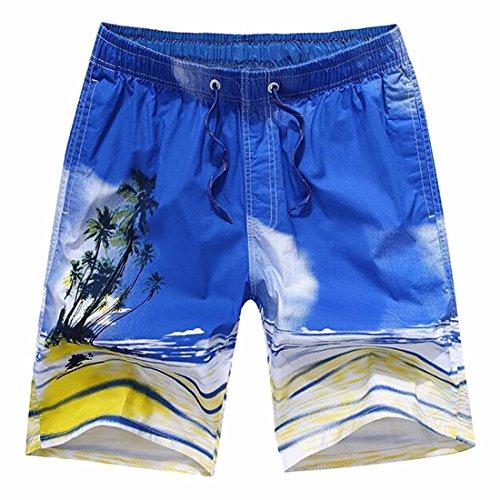 QIYUN.Z Mens Jungen Sommer Casual Printing Badehose Surfbrett Strand Shorts K13-Dunkelblau