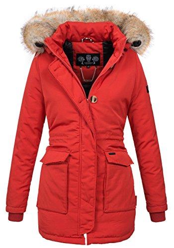 Navahoo Damen Winter Jacke Parka Mantel Winterjacke warm gefütterte Kapuze B612 [B612-Schnee-Rot-Gr.M]