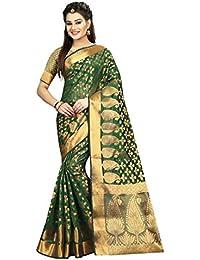 Hinayat Fashion Women's Banarasi Silk Saree(HNT01SRI397_Green_Free Size)