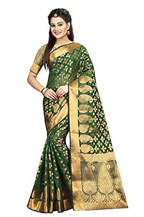 Hinayat Fashion Women's Banarasi Silk Saree (HNT01SRI397_Green_Free Size)