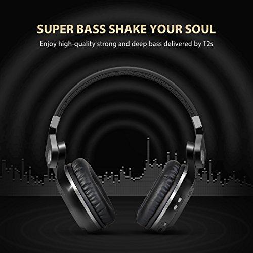 Bluedio T2S (Turbine 2 Shooting Brake) Bluetooth stereo headphones wireless headphones auricolari cuffie Bluetooth 4.1 headset Hurrican Series over the Ear headphones Gift Package(Nero)
