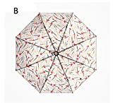 Ombrello da viaggio pieghevole Ombrello leggero anti-UV compatto Ms Ombrello da sole Ombrello antiscivolo in lega di alluminio (Colore : B)
